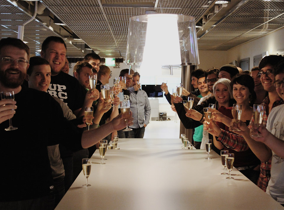2013 Champagne celebration at the office